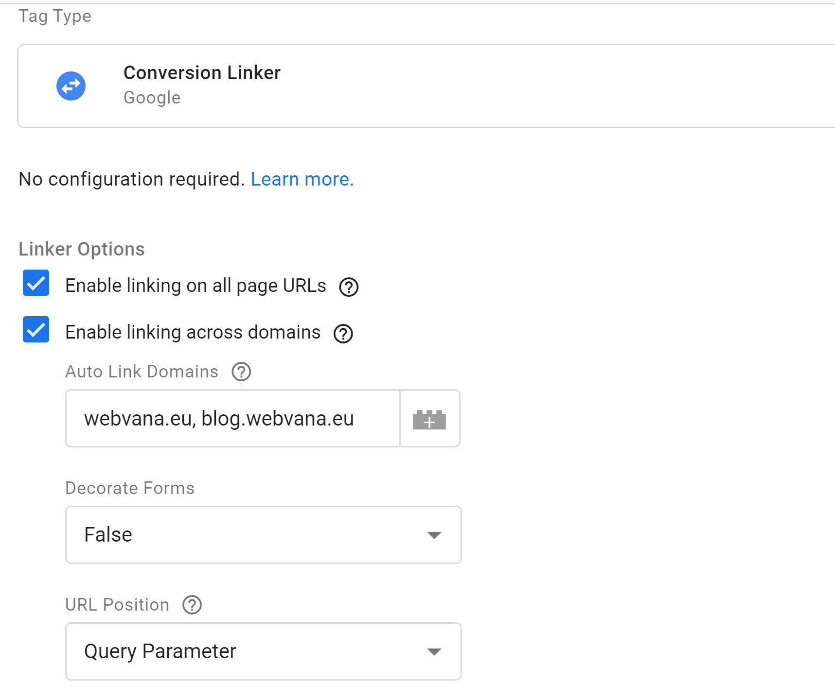 Conversion Tag Manager Linker